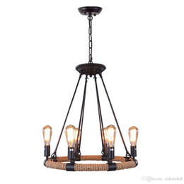 Wholesale fluorescent rope light - Loft Rope Rustic Chandeliers 6-light Vintage Pendant Lighting Chandelier Iron Adison Chain Droplights For living room indoor lights