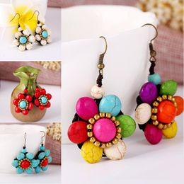 orecchini turchesi fatti a mano Sconti Orecchini di gioielli stile etnico retrò Bohemian esagerato Handmade fai da te orecchini fiore turchese regali femminili