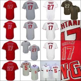 Wholesale Los Angeles Jerseys - Shohei Ohtani Mens Los Angeles 17 Shohei Ohtani 27 Mike Trout Baseball Jerseys White Red Grey Flexbase Embroidery Logos Mix Order S-4XL