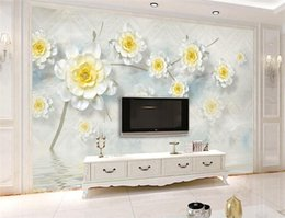 Wholesale Japan Fabric Roll - 3D Floral Wallpapers Photo Wall Mural for Living Room Bedroom Modern Wallpaper Classic 3d Mural Fabric Wall Paper Rolls Custom