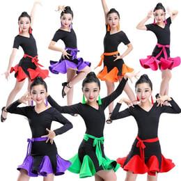 3e4f84765cd Robes de danse de danse pour filles Robes de danse latine multicolore pour  filles Salsa Tango Dancewear Costumes de danse pour enfants