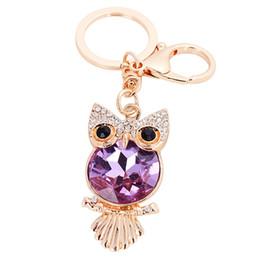 Wholesale Owl Pendant Pink - Bling Bling Crystal Rhinestone Cute Owl Metal Keychain Keyring Car Keychains Purse Charms Handbag Pendant Best Gift for Men Women 7 Colors