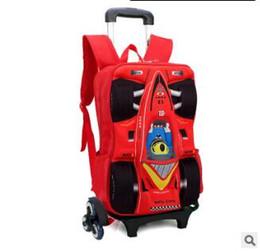 Wholesale School Bags Wheel - kid School Backpack On wheels Trolley School bag for boy kid's luggage car Trolley Rolling Bag Children Backpack for kids