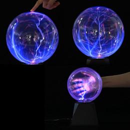 Esfera de luz de navidad online-6/8 pulgadas bola de plasma esfera mágica relámpago cristalino globo nebulosa táctil luz fiesta de navidad decoración