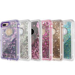 Wholesale wholesale defender cases - For iPhone 7 7Plus Case 3in1 Defender Phone Case Liquid Quicksand Glitter Back Cover with Dust Plug for iPhone 7 7plus