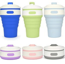 Wholesale Retractable Portable Cup - Portable Silicone Retractable Folding Cup 6 Colors Outdoor Telescopic Collapsible Folding Tumblerful Cups 350ML Folding Water Cup EEA308