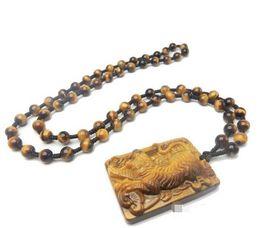 Colar do zodíaco do jade on-line-Pingente de Olho de Tigre Natural Animal Zodíaco Tigre Jade Tigre de Ouro Pingente de Colar de homens