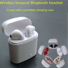 Wholesale Headphones Portable Case - Mini Bluetooth Earphone i7 TWS Wireless Earbuds Portable Headphone Phone Earphone with Mic For iOS Android phone + Charger Case