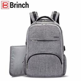 Wholesale Boy Diaper Bags - BRINCH Nappy Bag Baby Diaper Bag Backpack with USB Charging Port Large Capacity Mom Backpack Insert Organizer For Boy  Girl