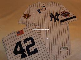 Wholesale 5xl tall - Cheap custom New York 42 MARIANO RIVERA 2001 WORLD SERIES Baseball Jersey WHITE New Mens stitched jerseys Big And Tall SIZE XS-6XL For sale