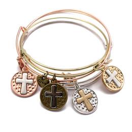 Wholesale Wholesale Gold Filled Wire - 4 Color Adjustable Bracelet Punk Style Alloy Cross Pendant Wire Bracelet Wristlet Hand Accessories For Women Support FBA Drop Shipping G918R