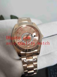 oro rosa 18k Rebajas Hombres libres del envío reloj de la alta calidad 42MM 326935 Pink Rome Dial SKY-DWELLER 18K Rose Gold Reloj automático para hombre