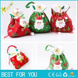 Wholesale Xmas Presents - Fashion Merry Christmas Santa Sack Gift Presents Bag Christmas Tree Candy Bags Wine Stocking Bottle Gift Bag Xmas Decoration