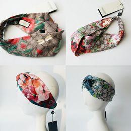 Wholesale flower silk scarf - Designer Headband Head Scarf for Women Luxury Brand 100% Silk Elastic Hair bands Girls Retro Floral Bird Flower Turban Headwraps Gifts