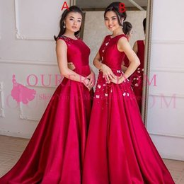 Wholesale beaded maxi - 2018 Red Maxi Style Bridesmaid Dresses A Line Beaded Flower Sweep train Backless Wedding Guest Gown Formal Evening Occasion Dresses Custom