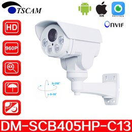 Hd ptz camera visione notturna online-TSCAM nuovo DM-SCB405HP-C13 HD 960P 1.3MP Telecamera IP Bullet 4X Zoom ottico Mini IR Night Vision Telecamera di sicurezza PTZ P2P Spedizione gratuita