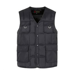 #1089 2018 Winter Cotton Vest Men Waistcoat Multi Pocket Vest Warm Dad Middle Aged Slim Sleeveless Jacket Vests For Men V neck
