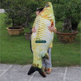 Wholesale 3d Real Dolls - Dorimytrader real picture 3D lifelike animal carp plush pillow soft animal fish toy baby doll gift for kids creative decoration DY61916