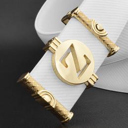 064cbb0a84f6 Ceintures de marque pour hommes de haute qualité lettre boucle Z ceinture  blanche en cuir véritable ceinture jeunes hommes de la mode luxe Cowskin  ceinture