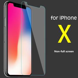 cristales al por mayor para telefonos Rebajas Para IphoneX no-pantalla completa de la película templada del teléfono móvil con el embalaje de la caja de cristal Protectores de pantalla del teléfono celular de la ayuda al por mayor