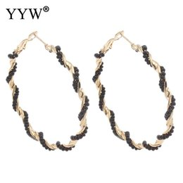 Wholesale beaded circle earrings - whole sale2017 New Designs Big Circle Loop Earring Round Glass Beaded Ear Hoop Earrings Large arbob Women Jewelry Pendientes Hoop Earrings