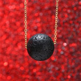 Wholesale Oil Pendants - 2018 hot sale Volcano Lava Stone Essential Oil Diffuser Necklace Aromatherapy Jewelry Minimalist Lava Ball Chain Necklace 162641