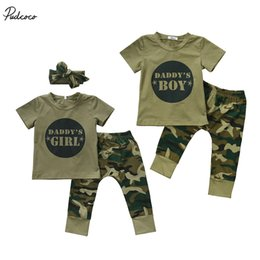 Wholesale Baby Girl Camo - Cute Casual Newborn Infant Baby Boys Girls Camo Short T-shirt Tops Camouflage Pants Outfits Set Clothes