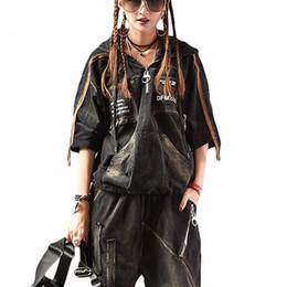 2019 chándal de la marca coreana Marca de lujo coreana 2 piezas niñas estilo punk Streetwear Womens Denim chándal mujer Jeans Sweat Suit Plus Size femenino rebajas chándal de la marca coreana