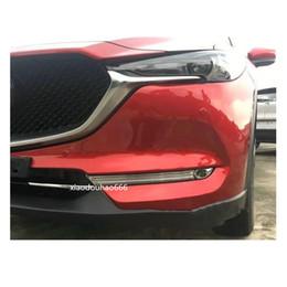 2019 cabeças de plástico Car styling detector de fibra de carbono tampa da guarnição da cabeça da frente luz de nevoeiro da lâmpada quadro parte 2 pcs Para Mazda CX-5 CX5 2 Gen 2017 2018