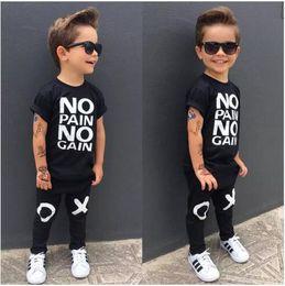Wholesale Boys Cool Outfit - fashion boy's suit Toddler Kids Baby Boy Outfits black hot Clothes No pain no gain letters printed T-shirt Top+XO Pants 2pcs cool child sets