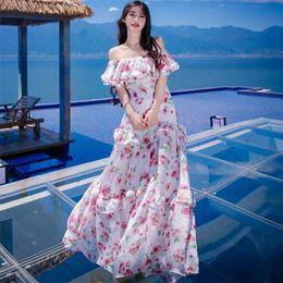 Wholesale Vintage Off Shoulder Maxi Dress - New High Quality Explosions Leisure Vintage Elegant Party Dresses Women Print Sleeveless Spring summer Casual Shirt Dress