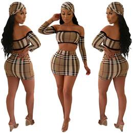 Европейская одежда для вечеринок онлайн-3 шт. Костюмы европейская мода сексуальная осень короткое мини-платье плед печати из двух частей платье женщины оболочка ну вечеринку с длинным рукавом с шарфом
