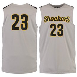 Wholesale Apparel M - Customized NO.23 Wichita State Shockers Men College Basketball Jersey Embroidery Athletic Outdoor Apparel Mens Sport Jerseys Size S-3XL