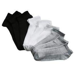 Wholesale Thin Ladies Socks - 10Pairs Womens Socks Solid White 3d Printed Ladies Socks Art Girls Ankle Summer Thin Boat Female Gray Black