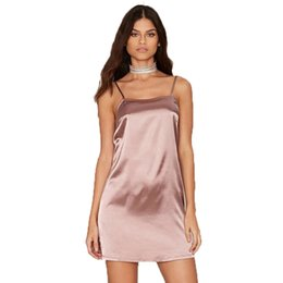 Satin nightgown sleeveless square neck silk like women sexy short mini  vintage night dress sleepwear femininos robe f8d4d233f