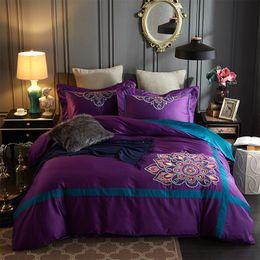 Wholesale Egyptian Cotton Bedding Sets Purple - purple Luxury embroidery 80S Egyptian cotton bedding sets 4PCS(1 duvet cover+1 flat sheet +2 pillowcase)