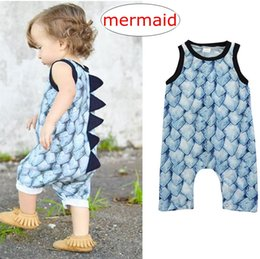 542dfd1738d8 New Baby Boys Mermaid Scale Romper Jumpsuits Dinosaurs scales Rompers Vest  Toddler Kids Clothing One-piece Cute boys girls Climb clothes