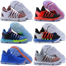 Wholesale Kd Shoes High Cut - Cheaper 2018 New 10 Basketball Shoes Men High Quality KD 10 Training Sneakers KD10 Athletic Shoes Size 7-12