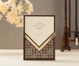 100 Unids Cw8209 C Brown Color Foil Corte Láser Invitación De Boda Envío Gratis Para Imprimir Saludo Personalizado Tarjeta De Cumpleaños