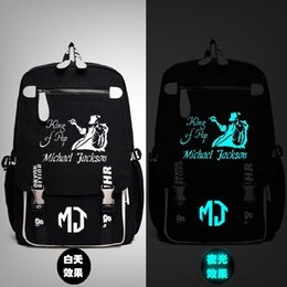 rucksack schulbeutel hip hop Rabatt Michael Jackson King of MJ Rucksack Messenger Luminous-Beutel-Schule Reisetaschen Anime Geschenk