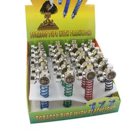 2019 держатели для сигарет Красочный светодиодный металлический светодиодный череп травяные трубки для курения Портативная трубка для табака с фонариком Rasta Держатель для сигарет Мини кальяны DHL Free Ship дешево держатели для сигарет