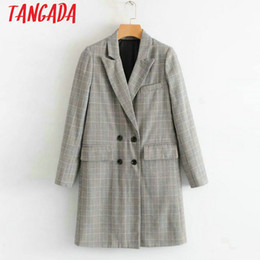 Wholesale Korea Slim Women Coat - Tangada Blends Long Coat Fashion 2018 Coat Women Female Double Breasted Ladies Coats Plaid Vintage South Korea clothing SY13