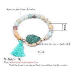 Bracelet en géode en Ligne-Balibali Classique Bracelet Pour Femmes Geode Druzy Pendentif En Quartz Alliage Connecteurs Pierre Naturelle Agata Manchette Tassel Bijoux Femme