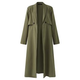 Wholesale Women Winter Work Coats - 2017 Autumn Winter Trench Coat Women Long Sleeve Open Front Casual Work Office Lady Elegant Long Overcoat Windbreaker Plus Size