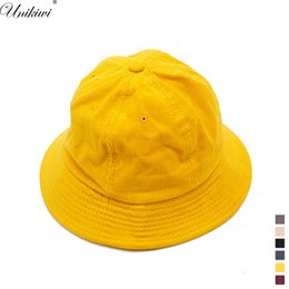 hat cans Promo Codes - UNIKIWI Men Women Unisex Corduroy Solid color Bucket Hat Caps.Couple Travel Sun Hat Fisherman Panama Hats Can Be Folded.6 Colors
