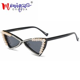 54bd1dc2cc Discount triangle shade - 2018 Vintage Small Cat Eye Sunglasses Women Brand  Designer Triangle Bling Rhinestone