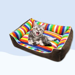 rainbow beds Promo Codes - Rainbow Colorful stripe pet bed for animals puppies dog beds for large dogs cat house dog bed mat cat sofa cushion supplies