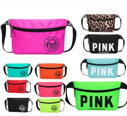 Wholesale Cosmetic Handbags - Pink Letter Fanny Pack Love Pink Waist Bags Waterproof Nylon Beach Bag Women Purses Sports Handbags Outdoor Cosmetic Bags 3 Colors 2018 best