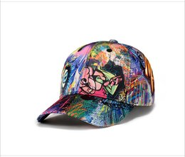 Wholesale Cloths Korean Man - 2018 Hot Korean style Graffiti pattern colorfully cap top quality hat cotton cloth baseball cap Hat for men and women#ly