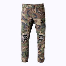 3e8aac97e8e4af Balmain Kleidung Designer Hose Offroad Panther print Armee grün Soldat  Herren Slim Denim gerade Biker Skinny Jeans Männer günstig grüne skinny  jeans für ...